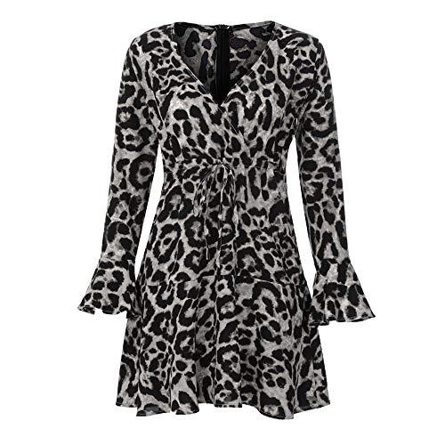 V Manche À tunique feixiang Robe Col En Mini Mini Elégant Mode Femme Pull Imprimée robe Noir Évasée Léopard Sexy Casual LqMUzGSVjp
