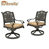 Table & Chair Designs  Malibu Cast Aluminum Patio Swivel Rocking Chairs with Sunbrella Premium Cushions (Set of 2)