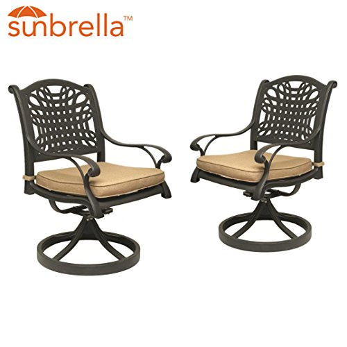 Table & Chair Designs - Malibu Cast Aluminum Patio Swivel Rocking Chairs with Sunbrella Premium Cushions (Set of 2)