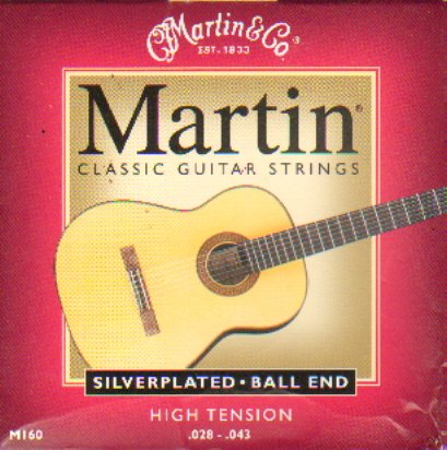 Martin M160 Silverplated Ball End Classical Guitar Strings - Martin Strings Nylon