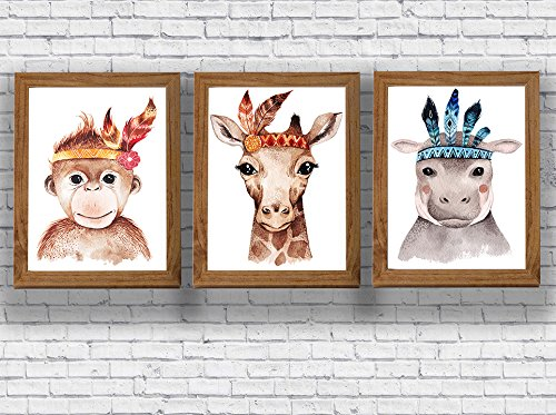 Amazon.com: Jungle Animals Nursery Art Print Chimpoo Giraffe Hippo ...