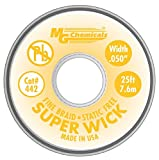 MG Chemicals 400 Series #2 Fine Braid Super Wick with RMA Flux, 25' Length x 0.05 Width, Yellow Size: 25' Length, Model: 442, Tools & Hardware store