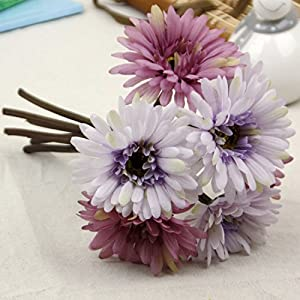 African Daisy Artificial Flowers 7 Heads Silk Cloth Flower Bouquet Artificial Plants for Wedding Banquet Living Room Home Decoration Party Christmas Mother's Day Holiday Gift 4
