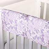 Purple Rose Floral 100% Cotton Padded Crib Rail Guard by The Peanut Shell