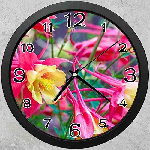 (47BuyZHJX 10-inch Round Decorative Wall Clock (Black),Backdrop Pattern - Garden Flowers,Pink Yellow Petals Flowers,Home School Office Wall Clock.)