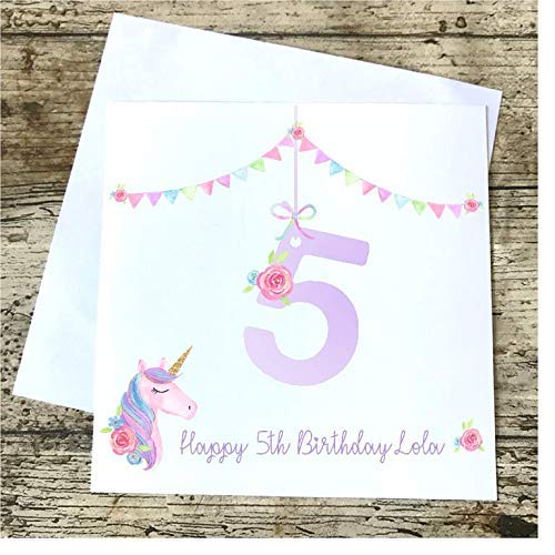 Cards Stationery Personalised Unicorn Birthday Card Daughter Niece Granddaughter Sister Girl Home Furniture DIY