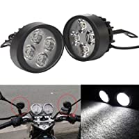 2X 15W Universal Motorcycle Scooter 4 LED Driving Fog Spot Light Headlight Lamp