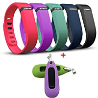 X-TECH Replacement Bands with Silicon Holder for Fitbit Flex Activity Tracker/ Wireless Activity+Sleep Wristband/ Sport Bracelet/ Sport Armband (5pcs Clors Band+2pcs Silicon Holder, Large)