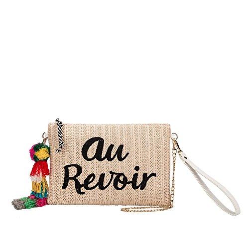 Melie Bianco St. Tropez Au Revoir Or Bonjour Designer Clutch W/ Straw (Oversized Vintage Clutch)