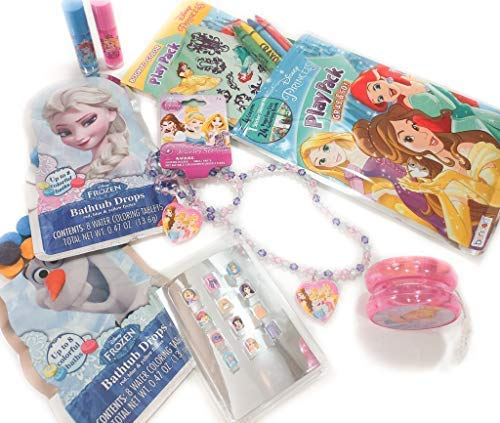 Disney Princess Toys Bundle - 6 Items; Jewelry Set, Yo-Yo, Jump Rope, Lip Gloss (2 pk), Press-On Nails (12 pk) & Grab and Go Play ()
