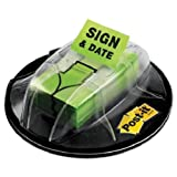 Post-it : Flag Dispenser, ''Sign & Date'', Bright Green, 200 Flags per Dispenser -:- Sold as 1 PK