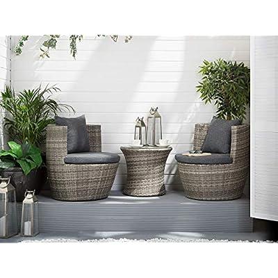 Beliani Capri Grey Rattan Garden Bistro Set