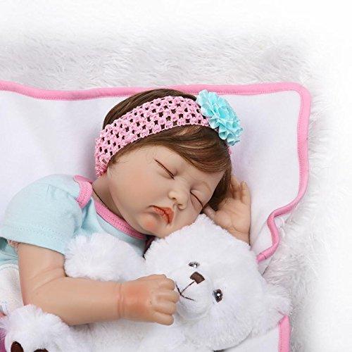 "22/""Newborn Sleeping Baby Reborn Doll Soft Silicone Feel Vinyl Weighted Handmade Doll"