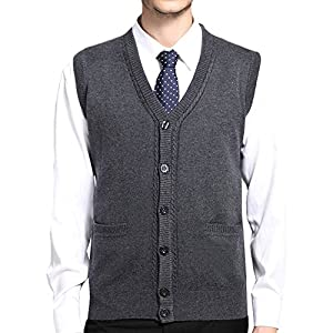 MAGE MALE Men's Sweaters Vest Casual Business Slim Fit V Neck Knit Button-Front Sleeveless Vest