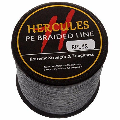 HERCULES 1000m 1094yds Gray 10lbs-300lbs Pe Braid Fishing Line 8 Strands (40lb/18.1kg 0.32mm)