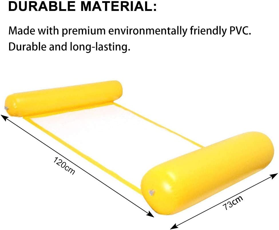Yellow Water Hammock Swimming Pool Air Bed Beach Mat Spring Float Summer Outdoor Adult Lounger Water Sofa INTVN Inflatable Floating Bed