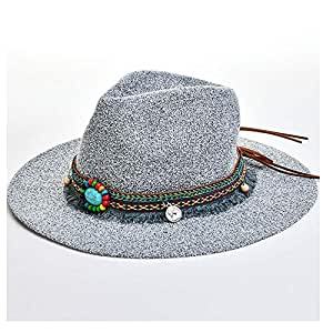 JAUROUXIYUJIN New Fashion Summer Boho Style Women Sun Hat Lady Wide Brim Jazz Hat Hat with Straw Vintage Hat Floppy Sun Beach Church Cap (Color : Gray, Size : 56-58CM)