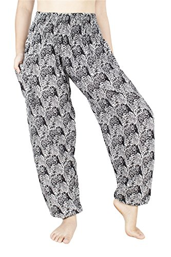 Mujer Con De Smoked Hippie 20 Harem Flowy Rayon Elephant Lofbaz Cintura Negro Pantalones Calada ta4wwdfq