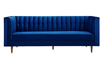 TOV Furniture The Sebastian Collection Modern Contemporary Tufted Velvet  Living Room Sofa, Navy Blue