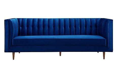TOV Furniture The Sebastian Collection Modern Contemporary Tufted Velvet  Living Room Sofa, Navy Blue