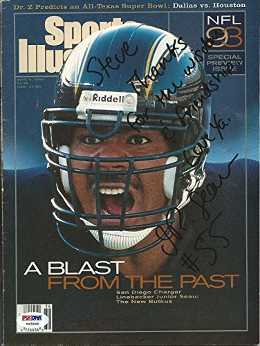 Junior JR Seau Signed Chargers 1993 Sports Illustrated Magazine COA Auto - PSA/DNA Certified - Autographed NFL Magazines