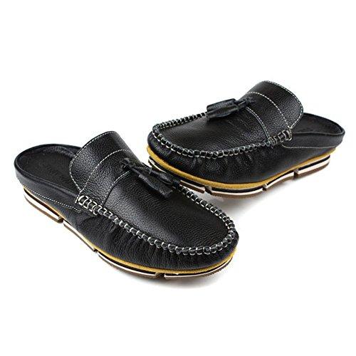 Santimon-mannen Comfortabele Zachte Lederen Backless Slippers Vrije Tijd Instappers Loafers Pantoffels Schoenen Zwart