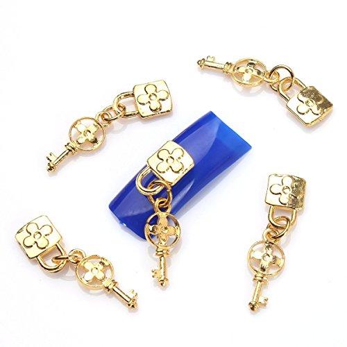 ECBASKET Fashion 3D Nail Charms Chains Lock Key Special Nail Alloy Decoration Manicure Rhinestone DIY  113