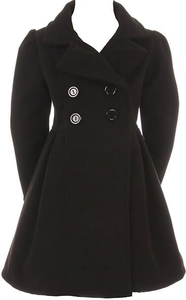 Amazon.com: Girls Dress Coat Long Sleeve Button Pocket Long Winter ...