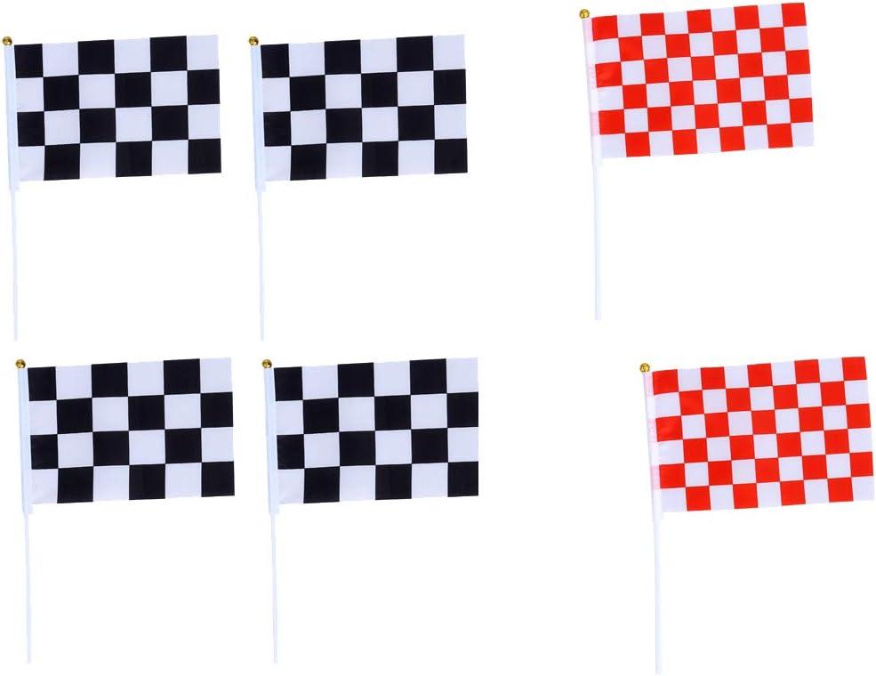 STOBOK 20pcs Bandiere da Corsa a Scacchi con Bastone Mini Bandierine in Mano Decorazioni per Feste Forniture Eventi Celebrazione