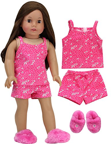 Doll Pajamas for 18 Inch Dolls | Pink Floral Tank Top and Shorts plus Pink Slippers | 3 Piece Set from Sophia's