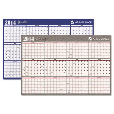 Visual Organizeramp;reg; Write-On/Wipe-Off Horizontal Format Reversible Yearly Wall Planner, 48 x (Monthly Visual Project Wall Planner)