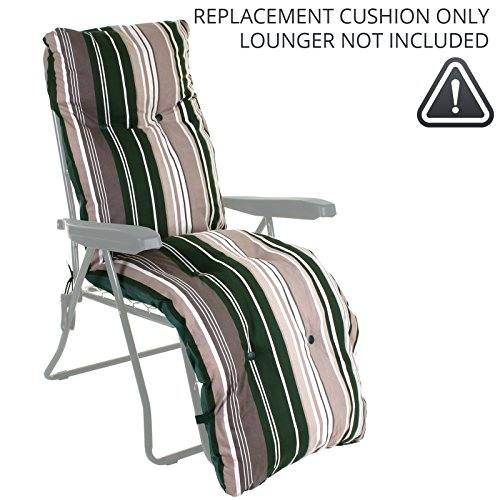 Sun Lounger Reclining Recliner Chairs Outdoor Garden Patio Relaxer with Cushion (Replacement Cushion ONLY, Green Stripes…