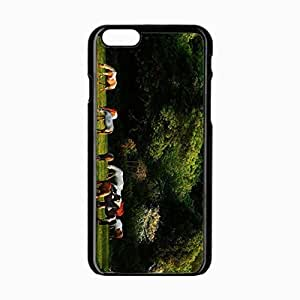 iPhone 6 Black Hardshell Case 4.7inch horses grass trees walk herd Desin Images Protector Back Cover