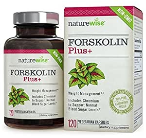 NatureWise Forskolin Plus+ for Weight Loss with Chromium for Healthy Blood Sugar Support, Coleus Forskohlii Supplement, 250 mg, 120 count