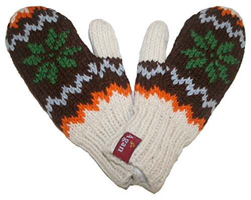 1419 MT Agan Traders Women's Knit Wool Lalupate Mitten (Brown/Green)
