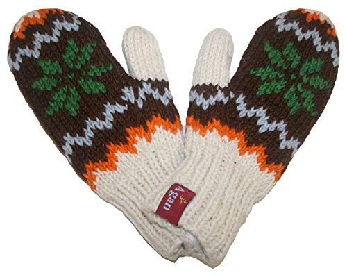 1419 MT Agan Traders Women's Knit Wool Lalupate Mitten (Brown/Green)