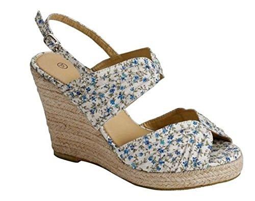 CELEBES OF SWEDEN Stunning Ladies Wedge Heel Sandals Cotton Blue Pink Print Size 3 4 5 6 7 7.5 8 KHTW606
