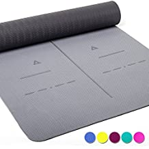 """LIMITED TIME DEAL Heathyoga Eco Friendly Non Slip Yoga Mat, Body Alignment System, SGS Certified TPE Material - Textured Non Slip Surface and Optimal Cushioning, 72""""x 26"""" Thickness 1/4"""""""