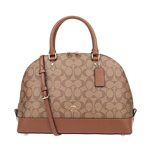 (Coach Signature Sierra Satchel Crossbody Bag Purse Handbag (Khaki/Saddle))