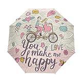 Top Carpenter Couple In Love Anti UV Windproof Travel Umbrella Parasol with Auto Open/Close Button
