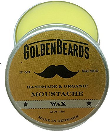Organic Moustache Wax - 15ml 100% NaturalGolden Beards | Jojoba & Argan & Apricot Oil The perfect grooming product for your moustache, only natural ingredients, 100% handmade