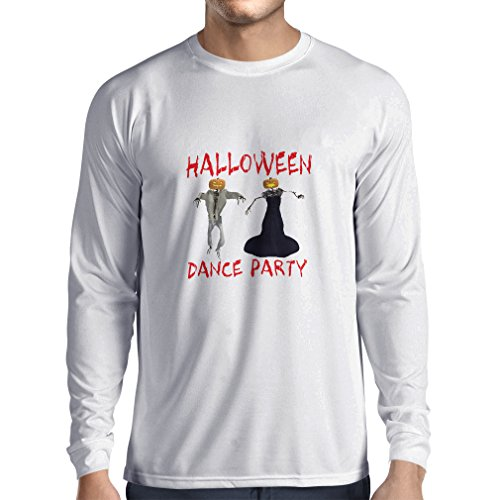 Long sleeve t shirt men Cool Outfits Halloween dance party events costume ideas (Medium White Multi Color) (Easiest Halloween Party Food)
