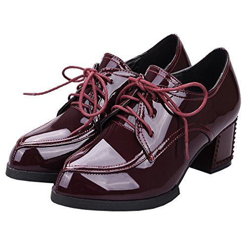 ENMAYER Womens PU Block Mid Heels Lace up Loafers Flats Büro Lady Court Schuhe Oxford Schuhe Stiefeletten Rotwein#727