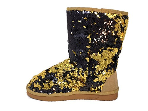 Women's Sparkles Gold/Black Mid Calf Dual Shaded Color Sequin Winter Boots Booties Shoes (9) (Women For Sequin Boots Winter)