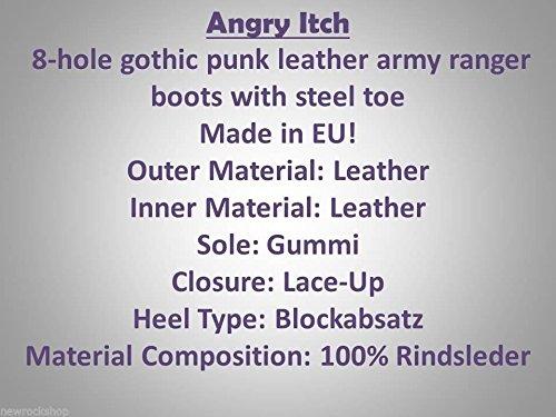slavato punta Itch in Pelle Color Blu Stivali di Nero e 8 Anfibi ferro punk Militari Buchi Angry HxOqHn
