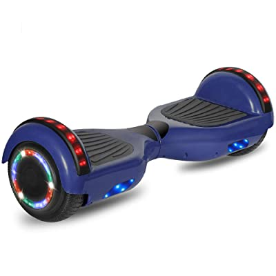 cho Electric Hoverboard Smart Self Balancing Scooter Hover Board Built-in Speaker LED Wheels Side Lights for Kids- Safety Certified (Blue): Sports & Outdoors
