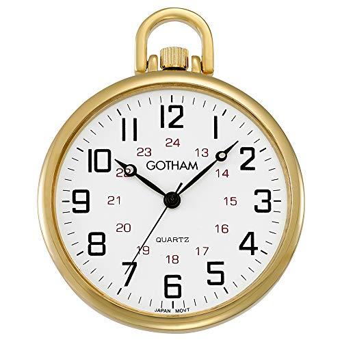 Gotham Men's Gold-Tone Ultra Thin Railroad Open Face Quartz Pocket Watch # GWC15026G ()