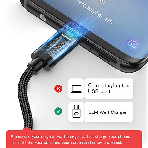 for Samsung Galaxy S8 Charger, Benicabe (2-Pack 6FT) USB Type C Fast Charging Cable Nylon Braided Cord for Galaxy S9/S9 Plus, S8/S8 Plus, Note 8 and More (Black)