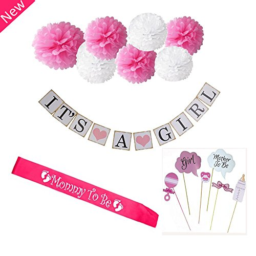 Baby Shower Decorations For Girl: It's A Girl Banner, Mommy To Be Sash, Pink And White Pom Poms, Photo Booth Props, Indoor, Outdoor, Cute Party (Outdoor Party Supplies)