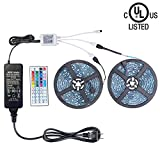 WenTop Led Light Strip Kit SMD 5050 32.8 Ft (10M) 300leds RGB 30leds/m with DC12V UL Listed Power Supply and 44 key Ir Controller for TV,Bedroom,Kitchen Under Counter, Under Bed Lighting